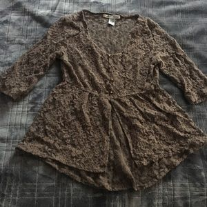All lace tan blouse.